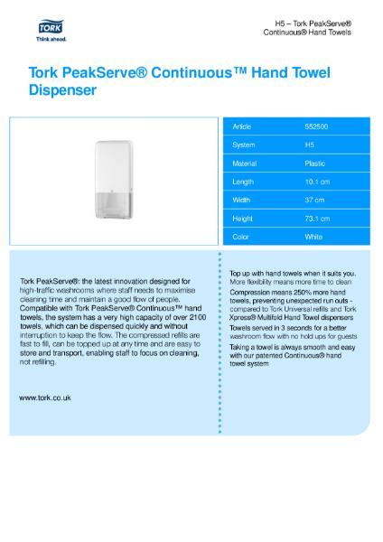 Tork Peakserve Continuous Hand Towel Dispenser