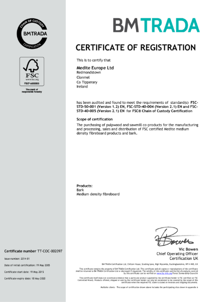 Medite Europe Ltd FSC Certificate 2015