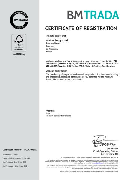Medite Europe Ltd FSC Certificate 2015