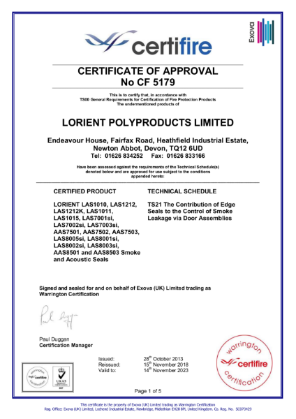 CF5179 Certifire Certificate