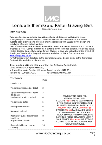 Rafter Glazing Bars For Timber Rooflights & Conservatories