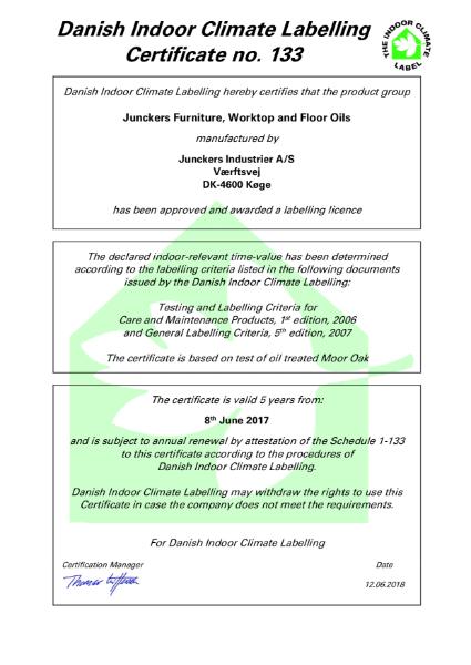 Indoor Climate Certificate - furniture, worktop and floor oil