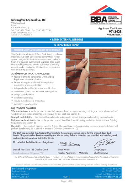 97/3428_3 K Rend Brick Rend