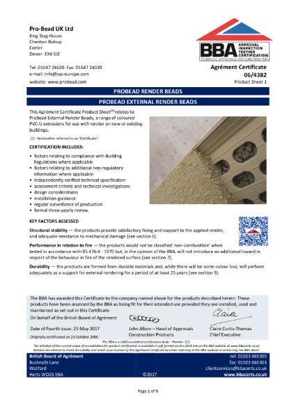 06/4382 PROBEAD EXTERNAL RENDER BEADS