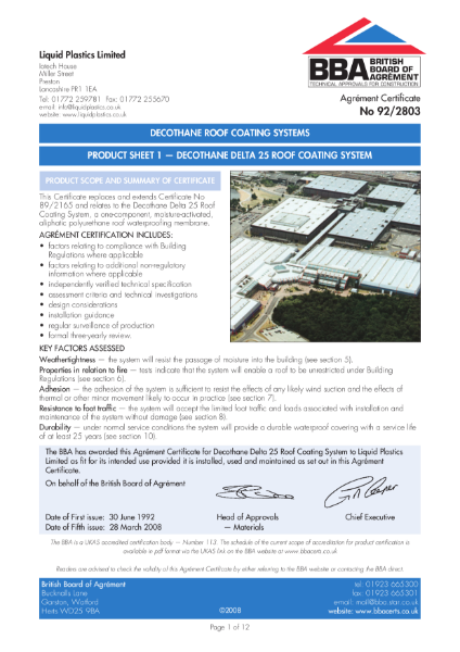 92/2803 Decothane roof coating systems