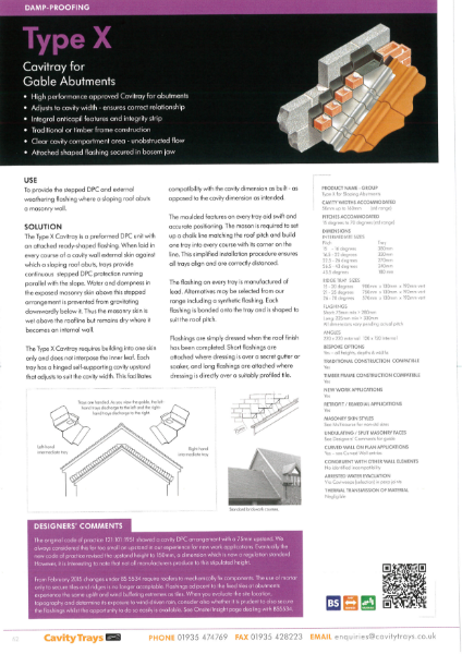 Type X gable abutment stepped cavity tray with attached flashing