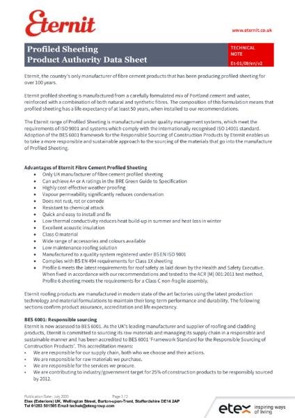 Eternit - Product Authority Data Sheet