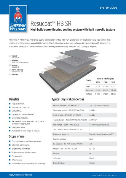 Resin flooring Resucoat HB SR coating system