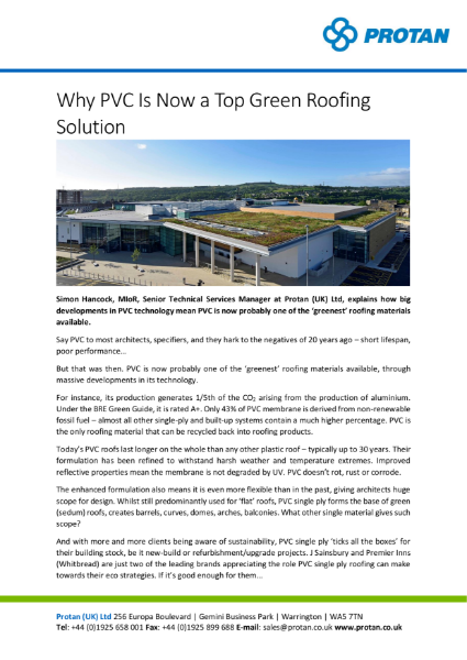 Why PVC Is Now a Top Green Roofing Solution