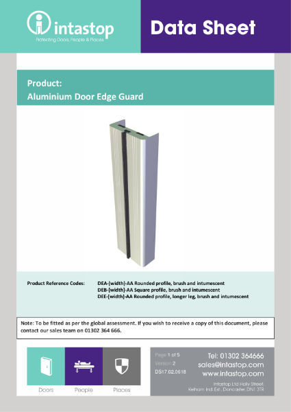 Aluminium Door Edge Guard Data Sheet