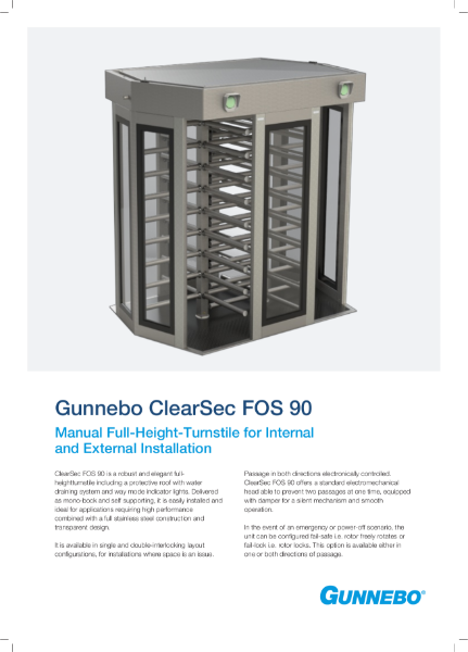 Manual Full-Height-Turnstile for Internal and External Installation