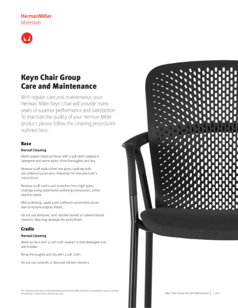 Keyn Chair - Care and Maintenance