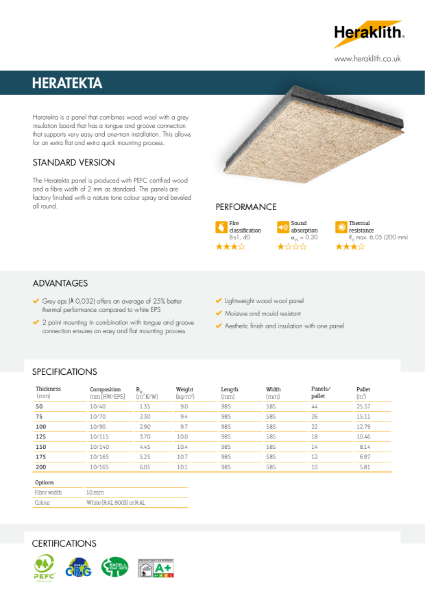 Heratekta Wood Wool board with Grey EPS Insulation