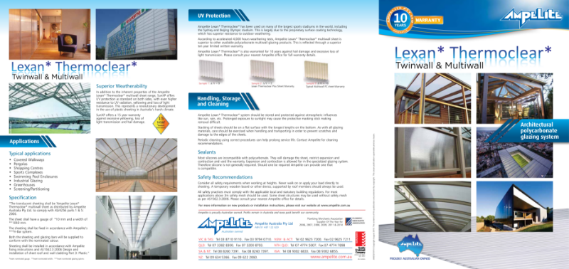 Lexan Thermoclear - architectural polycarbonate glazing system for Twinwall & Multiwall