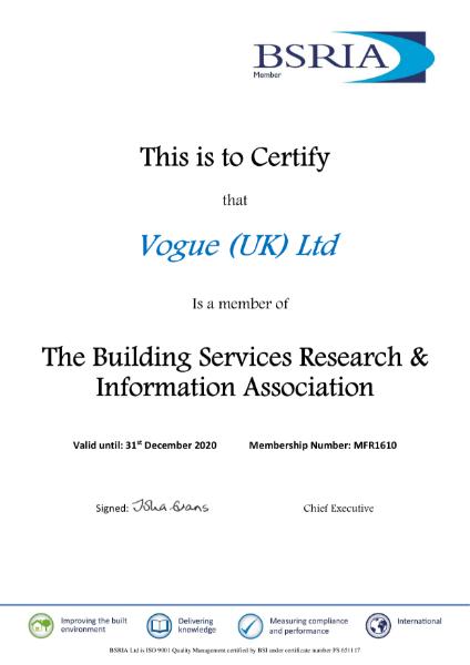 BSIRA 2020 Certificate