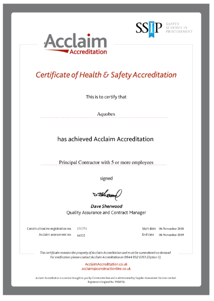 Acclaim Certificate of Health & Safety