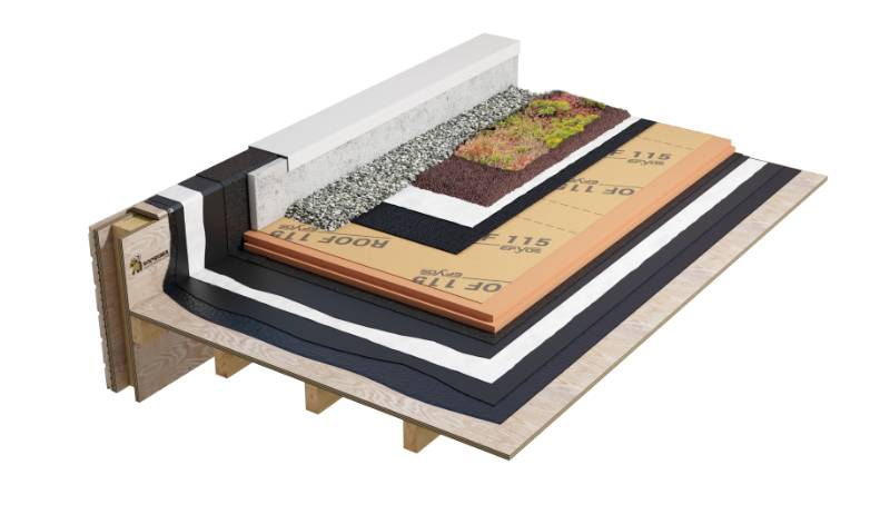 Duoflex - Double Pour Hot Melt inverted roof system on wood with stone ballast (WBG1XPHBNA_001)