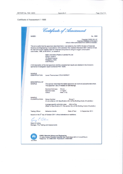 AS/NZS 3837 Certificate of Assessment for Lexan Thermoclear LT2UV102RS17