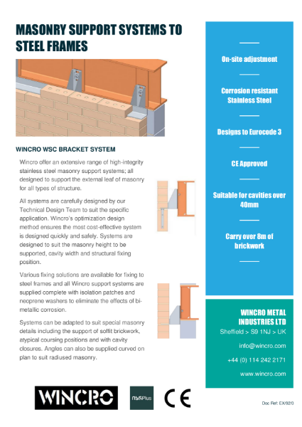 Brick Support System for Steel Frames