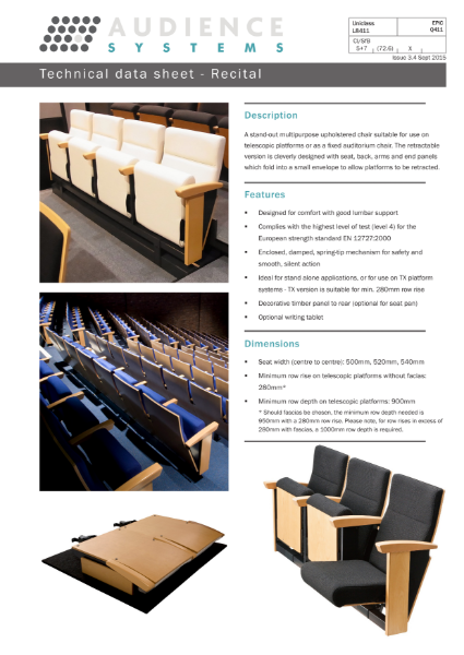 Recital: auditorium, theatre and retractable chair
