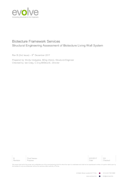 Biotecture Living Wall structural engineering assessment