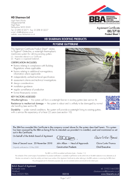Plygene Gutterline system BBA approval certificate