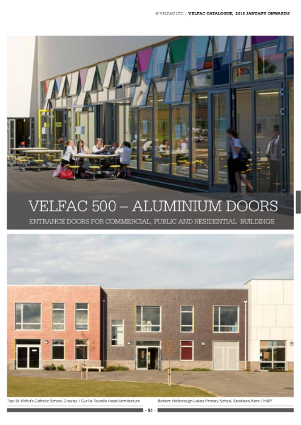 VELFAC 500 Aluminium Door System Product Catalogue