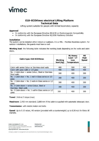 EcoVimec cabin platform lift by Vimec_ Data Sheet