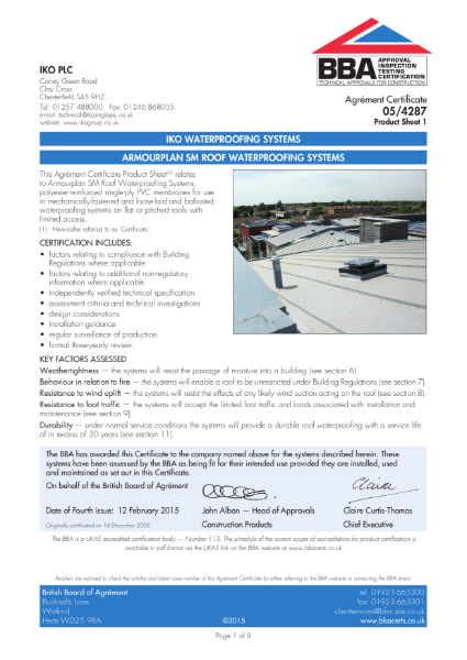 05/4287_1 Armourplan SM Roof Waterproofing Systems