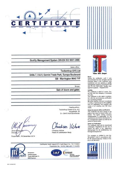 EN ISO 9001: 2008 Certificate