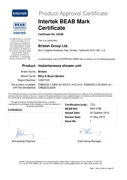 Intertek BEAB Mark Certificate 20538