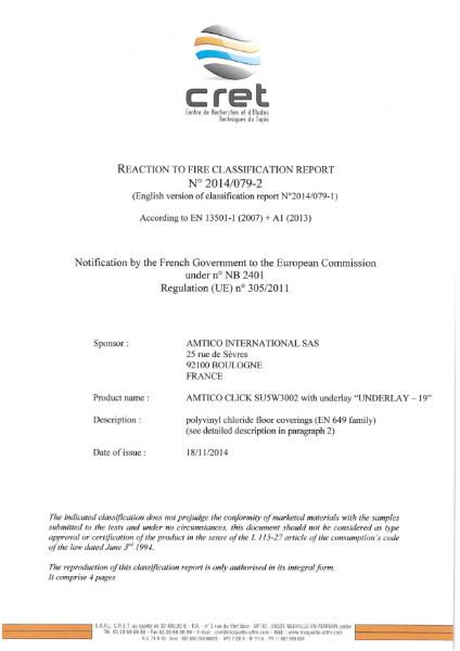 EN 13501-1: 2007 Certificate (Spacia Click Underlay)