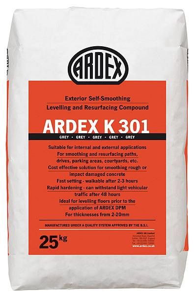 ARDEX K 301 Exterior Self-Smoothing Levelling and Resurfacing Compound