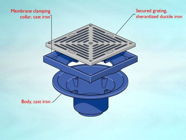 WB5 Series outlet for cold roof, square flat grating