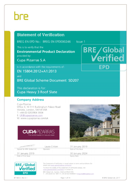 BRE Global Verified (EPD) – HEAVY 3