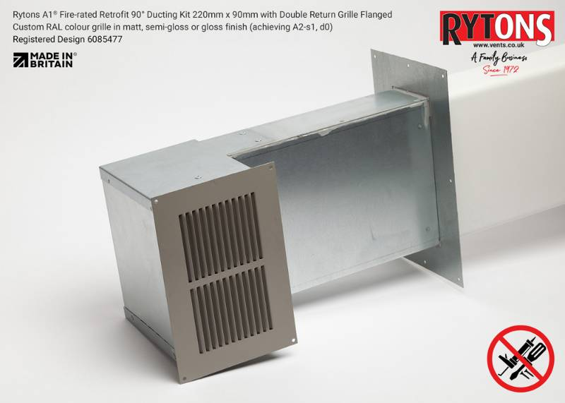 Rytons A1 Fire-rated Retrofit 90° Ducting Kit 220mm x 90mm with Double Air Brick Grille
