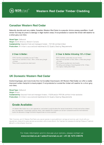 Canadian & UK Western Red Cedar Timber Cladding - NORclad