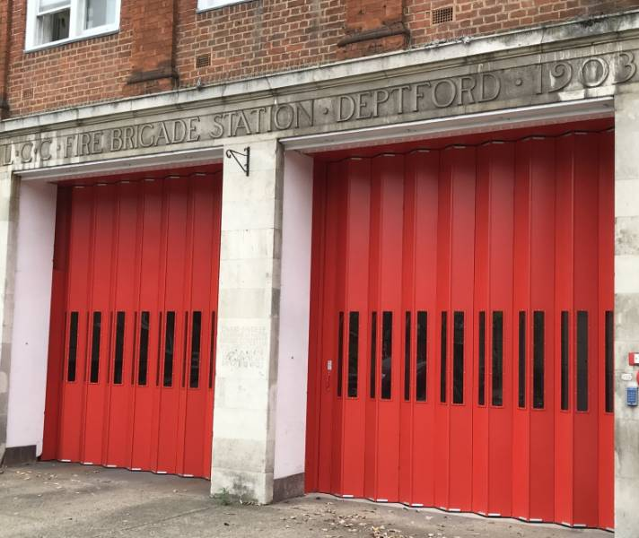 Folding shutters at Deptford Fire Station
