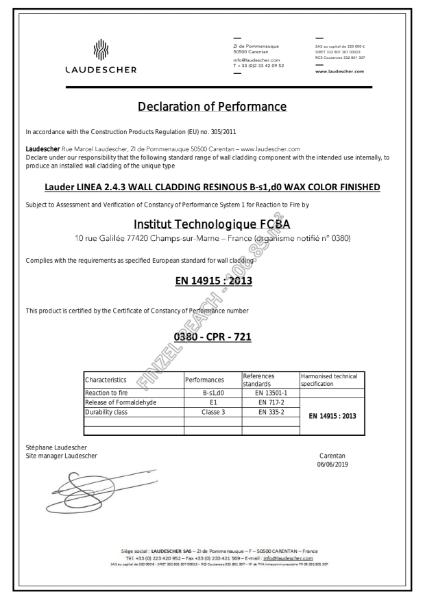 Laudescher Fire Wall Certificate