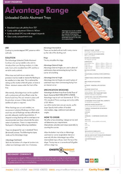 Cavity Trays Ltd Gable Abutment cavity tray unleaded