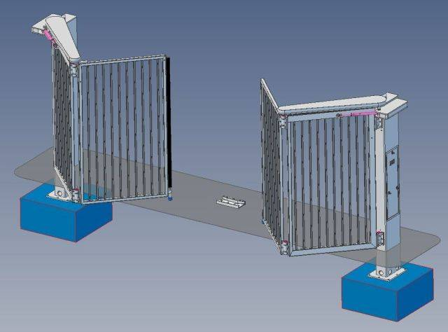Bi-Folding Trackless Speed Gate