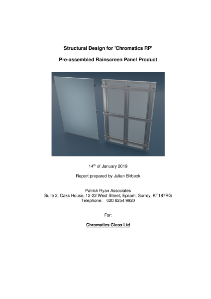 Structural Design for 'Chromatics RP' Pre-assembled Rainscreen Panel Product