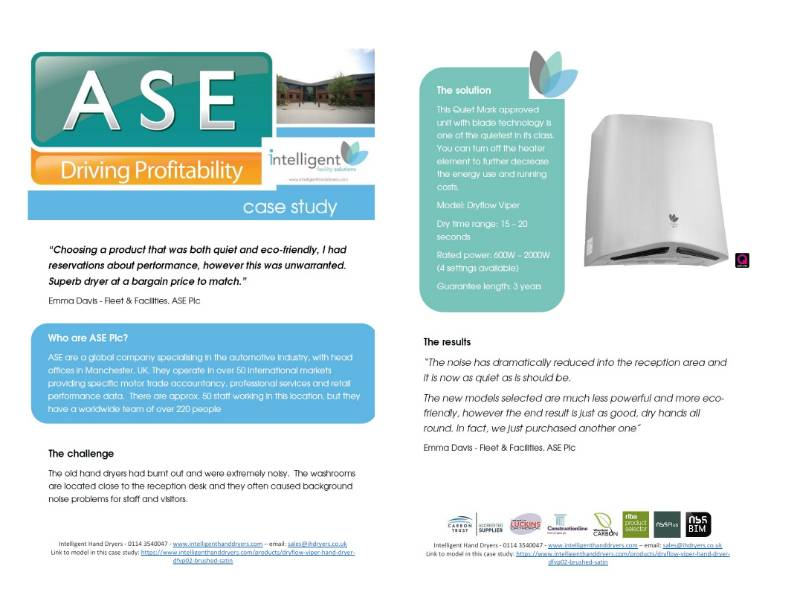 Hand Dryer Case Study (Large office) - ASE Plc, Manchester