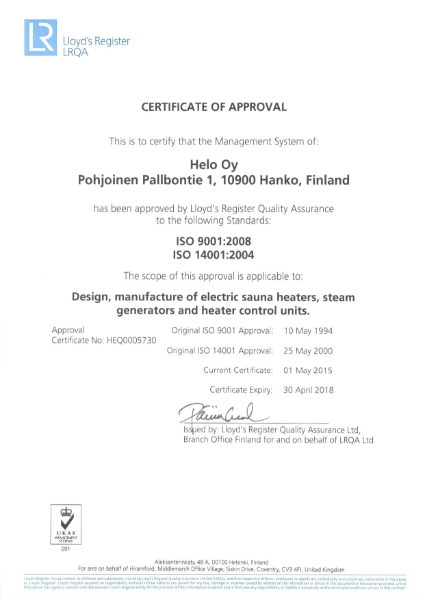 ISO 9001:2008 and ISO 14001:2004 Certificate