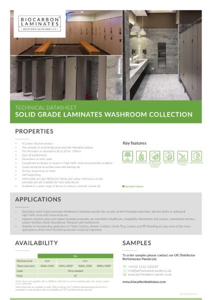 BioCarbon Laminates Solid Grade Laminates (SGL) Washroom datasheet