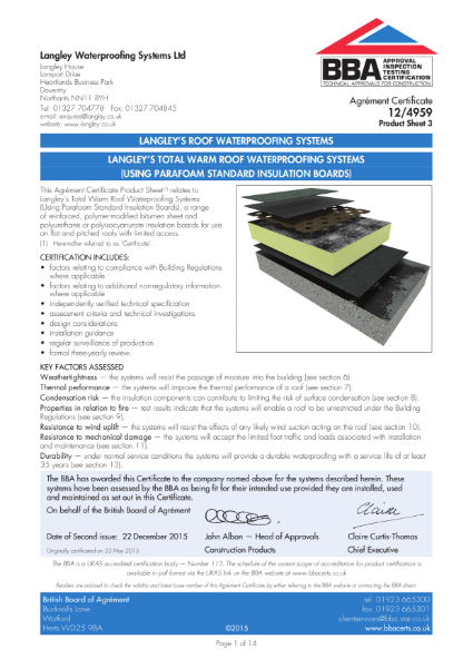 12/4959_3 Langley's Total Warm Roof Waterproofing systems (using parafoam standard insulation boards)