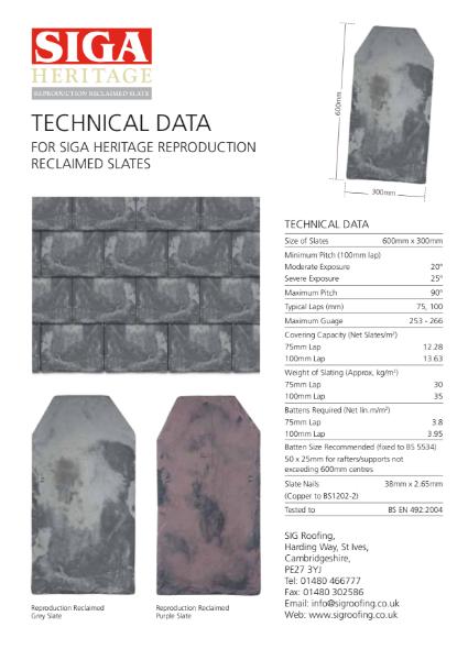 SIGA Heritage Reproduction Reclaimed Slate Data Sheet