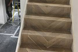 Cladding Stairs in Engineered Herringbone Parquet Flooring