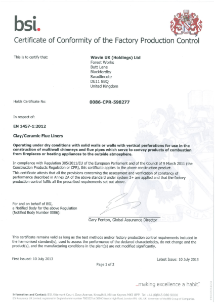 BS EN 13502:2002 Certificate
