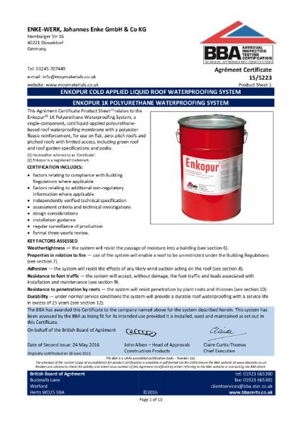 15/5223 Enkopur 1k Polyurethane Waterproofing System